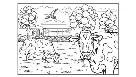 Colouring Page Cows In The Meadow
